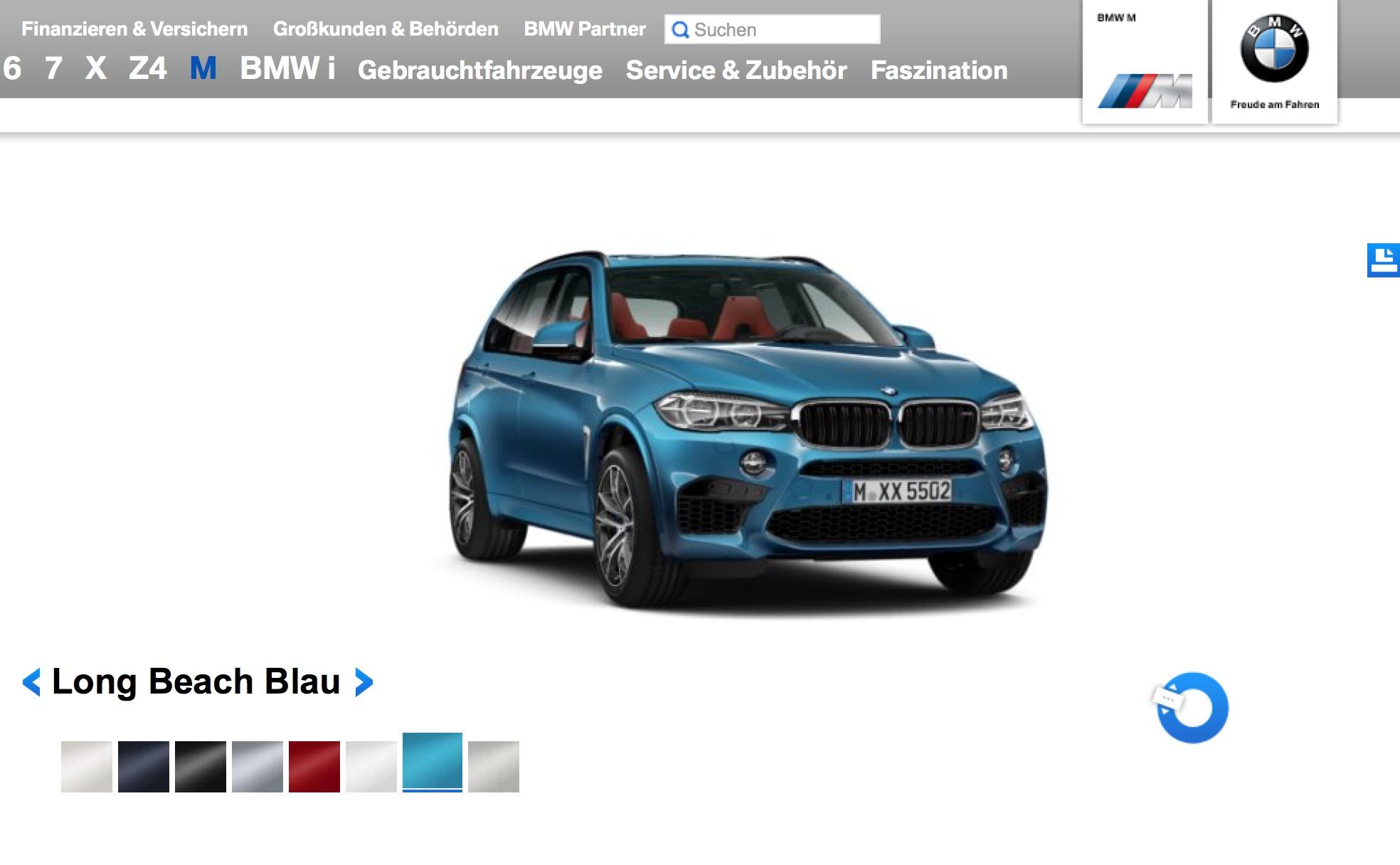 New x5m x6m online visualizer shows exterior paints for Online visualizer