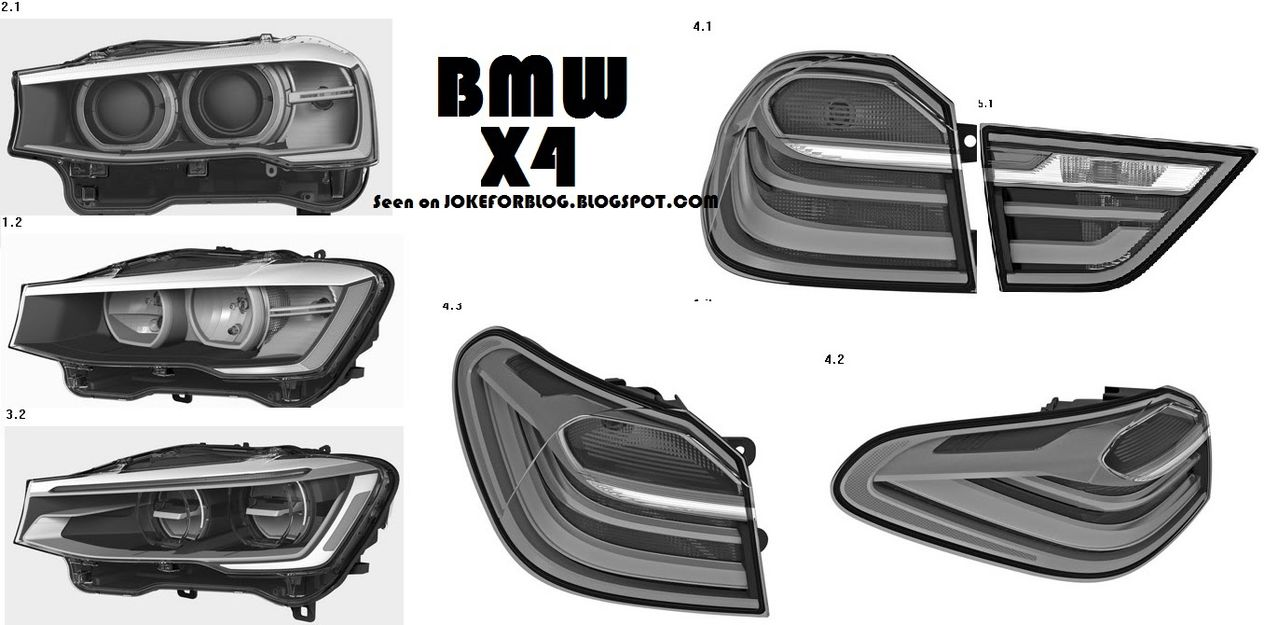 Bmw X4 Parts Patent Drawings Show Body Panels And Lights