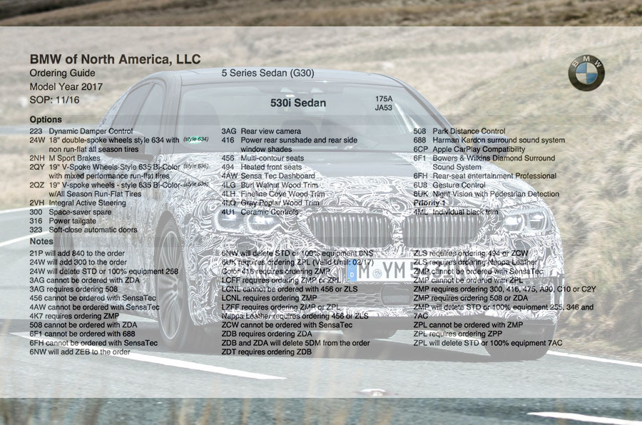 2017 Bmw 5 Series G30 Ordering Guide Page 4
