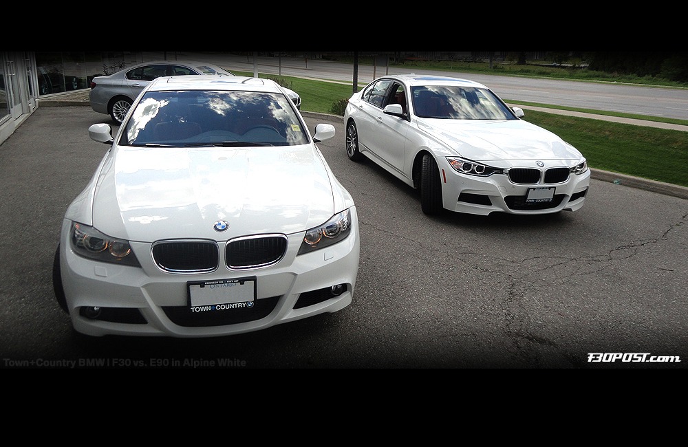 M Sport Twins Comparing Alpine White F30 Vs E90