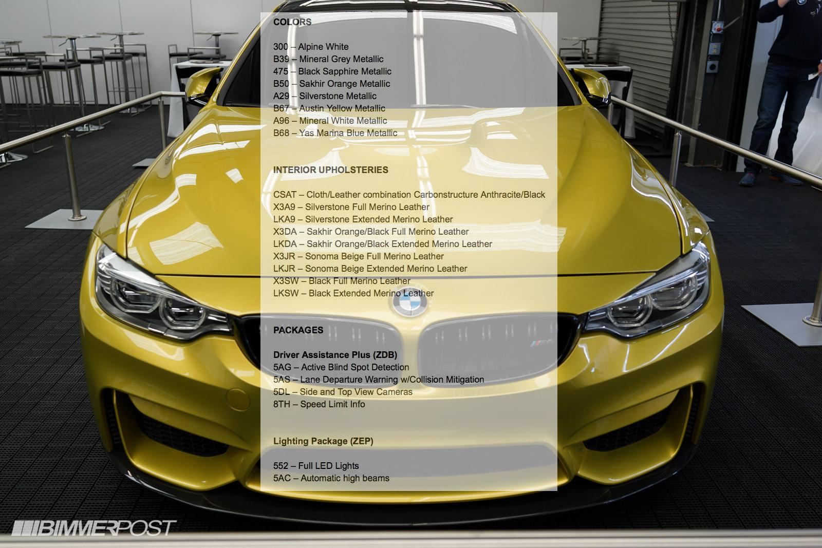 2014 M3/M4 Dealer Launch Car Order Guide Reveals Colors ...