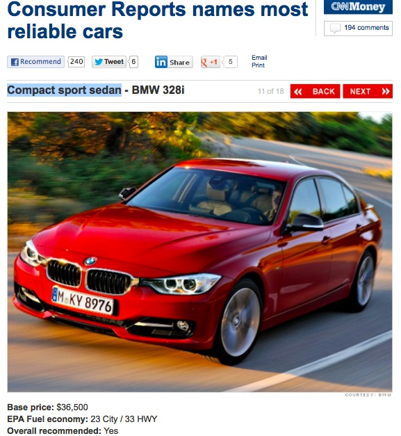 F30 328i named most reliable compact sports sedan by Consumer Reports