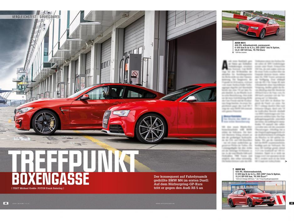 Bmw M4 Vs Audi Rs5 Compared On Nurburgring Gp Track By Autozeitung
