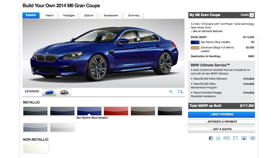 Have $113,000 Ready? Configure Your Own 2014 BMW M6 Gran Coupe Online