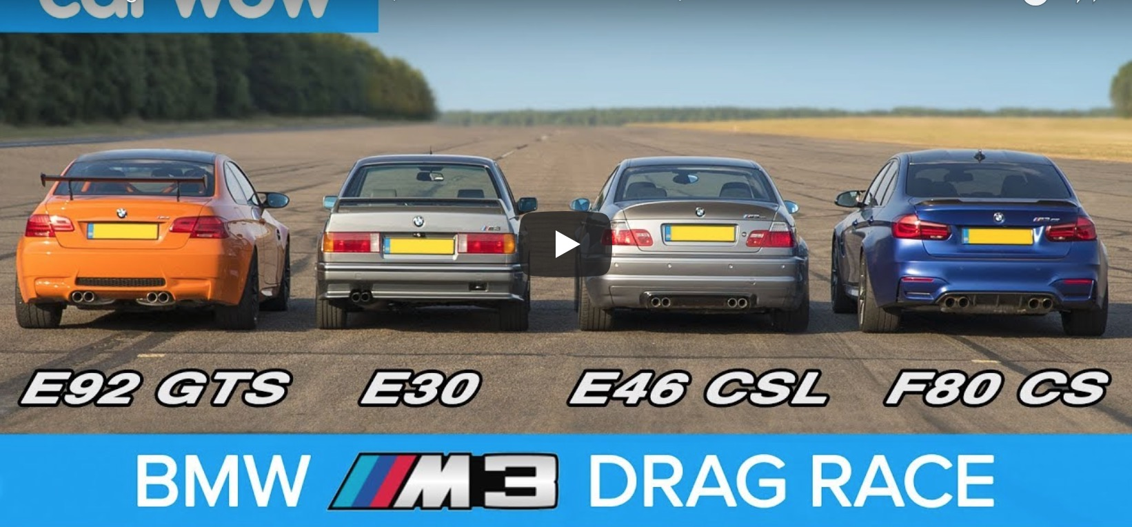 Carwow Video Bmw M3 Generations Drag Race Rolling Race Amp Review