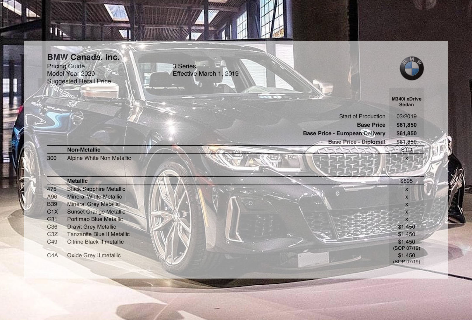 Canadian 2019 M340i Xdrive Pricing Guide And Ordering Guide Page 3
