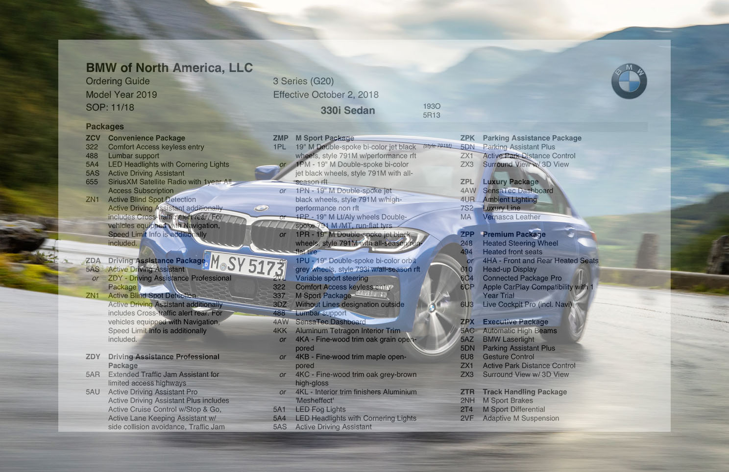 2019 2020 Bmw 330i And 330i Xdrive Pricing Guide And Ordering Guide Page 6